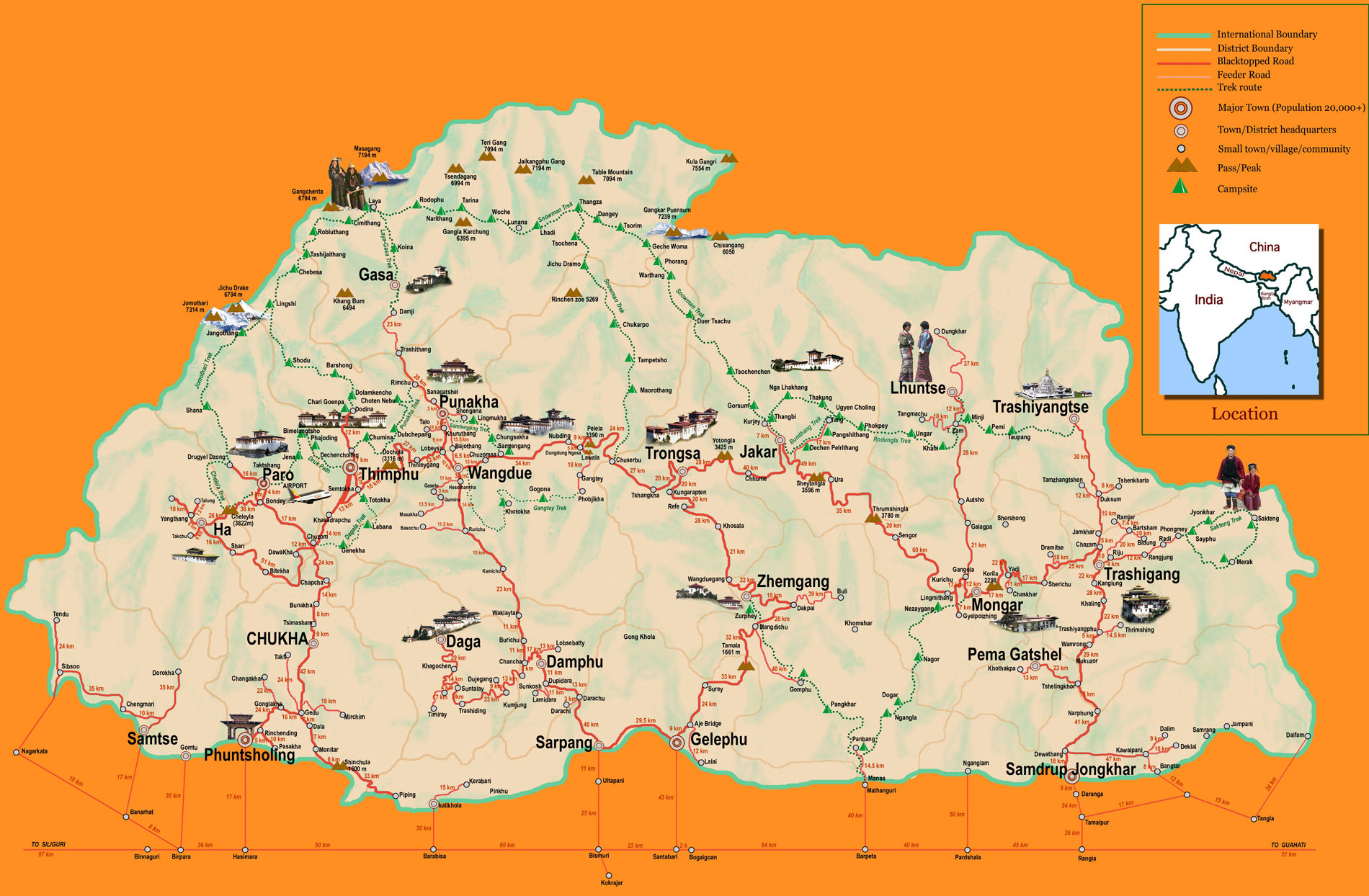 bhutan map bhutan travel map tourist map for bhutan - bhutan map