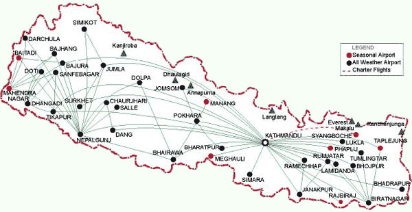 Nepal Domestic Flight Map